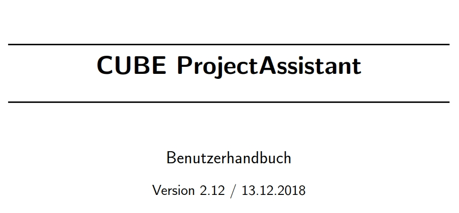 New Manual for CUBE ProjectAssistant v2.12